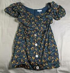 Sabo Skirt Women#x27;s Puff Sleeve Tie Front Floral Peyton Dress NA8 Blue Small NWT $35.99