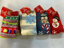 Holiday Style Novelty Knee High Socks 2 pair shoe size 4 10 bin#9 $8.50
