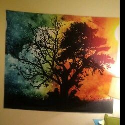 Tapestry wall hanging large Seasons Change Tree Colorful $23.00
