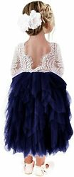 2Bunnies Girl Peony Lace Back A Line Tiered Tutu Maxi sleeve navy Size 0.0 HIc $18.00