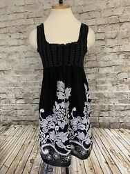 MAX STUDIO Sundress Black White Beach Stretch Bodice Baby Doll Embroidered Lined $16.80