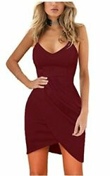 Zalalus Women#x27;s Bodycon Cocktail Party Dresses Deep V Neck Wine Red Size $9.99