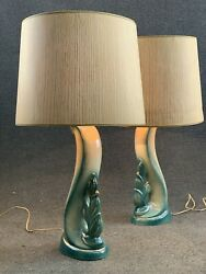 Pair Mid Century Modern Turquoise Green amp; Gold Biomorphic Table Lamps w Shades $289.99