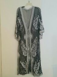 Sheer Mesh Black White Embroidered Cover Up OS NEW tulle $19.99