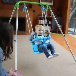 Indoor Outdoor Foldable Frame Adjustable Seat Height Toddler Swing for Kids $67.63