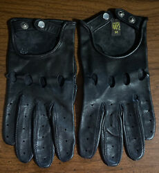 Vintage Daniel Hays Mens Black Leather Driving Gloves Size Medium Mint $74.99