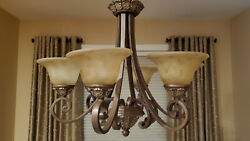Bronze Color Chandelier and matching mini Pendents Used LOCAL PICKUPONLY $50.00