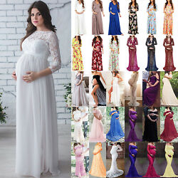 Pregnant Women#x27;s Long Maxi Dress Maternity Cocktail Party Lace Dress Photography $26.78