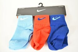 Blue Red Nike Kids Socks 3 Pairs 3C 7C Size Polyester Boys or Girls $15.58