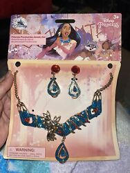 Disney Store Girl Pocahontas Jewelry Dress up Necklace Clip On Earrings