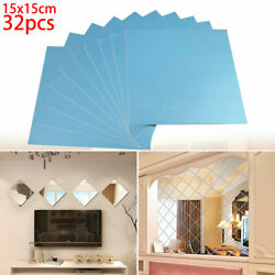 32 Pcs Mirror Tiles Decal Self Adhesive Square Wall Stickers Bathroom 3D Decor $11.86