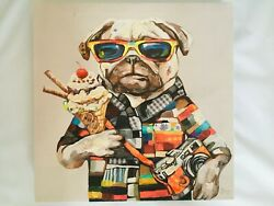 Fun Pug Art canvas wall hanging print size 14x14. Perfect for a kids room. $8.00