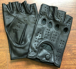 HALF FINGER GENUINE LEATHER GLOVES DRIVING MOTORCYCLE WORKOUT $22.99