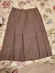 BROOKS BROTHERS Brown Houndstooth Wool Pleated Skirt Size 4 $17.95