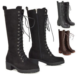 Womens Calf Knee High Boots Ladies Lace Up Black Casual Biker Combat Shoes Size GBP 34.99