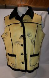 Women#x27;s XL Leather Vest Shearling Faux Robert Kitchen Canada Feathers $35.00