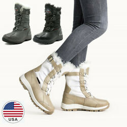Women#x27;s Insulated Waterproof Winter Snow Boots Faux Fur Lined Mid Calf $37.99