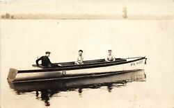 G90 Put In Bay Ohio RPPC Postcard c1910 quot;Big Woofquot; Boat Men Lake Erie $32.09