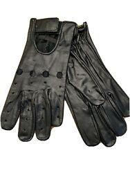 VTG Mens Black Leather Driving Gloves CAFE RACER MOTORCYCLE RACING 70s 80s Rare $15.00