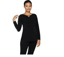 Susan Graver Liquid Knit Top with Keyhole Trim Black 1X $20.00