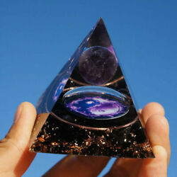Amethyst Crystal Sphere Orgonite Pyramid with Obsidian Chakra Energy Orgone Hot $16.14