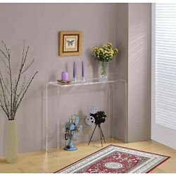 Clear Lucite Acrylic Console Table Narrow Airy Sleek Small Space Ghost Accent $338.60