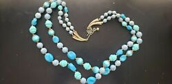Blue Beaded Double Vintage Necklace Signed ART $17.50