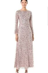 Adrianna Papell Beaded Gown Dress Formal Wedding Party Christmas Long Sz6 Cameo $63.98