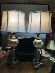 Vintage Table Lamps elegant Pair Of Lamps Gold Tone pewter 3 Way Light switch $129.99