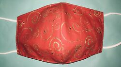 Christmas Face Mask Red Gold Swirl Rhinestones Cotton Comfortable Bling Handmade $10.99