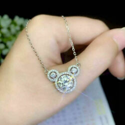 Cute 925 Silver Necklace Pendant for Women White Sapphire Jewlery Gift $2.18