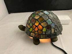 Turtle Tortoise Stained Glass Lamp Night Light 9quot; BLUE Electric Feb 2003 #3536 $35.90