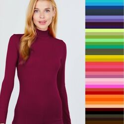 T Shirt Turtleneck Long Sleeve Light Weight Active Basic Stretch Top S M L $10.50