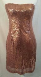 NWT Forever 21 Women#x27;s Bronze Sequin Mini Cocktail Party Dress Size Large $9.99