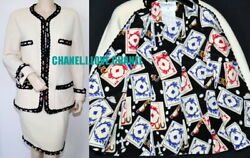 CHANEL VINTAGE CC PLAYING CARDS TWEED JACKET SKIRT SUIT40COLLECTOR#x27;S PIECE $1699.00
