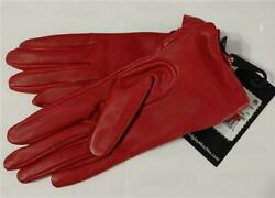 NEW Badgley Mischka Bow Tie Leather Touchscreen Gloves SM Red #78235 $33.15