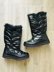 Cat amp; Jack Black Girls Snow Boots size 1 Black Lined Winter Girls Boots Nicole $19.99