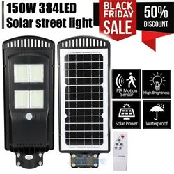 990000LM 150W Commercial Outdoor LED Solar Street Light Parking Pole Lot Lamp US