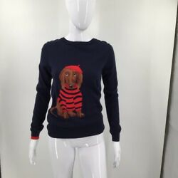 Joules Womens Pullover Sweater Blue Red Dog Long Sleeve Crew Neck Cotton Blend 4 $29.99
