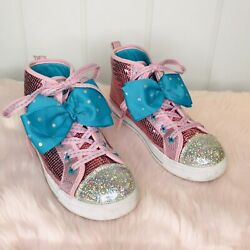 Nickelodeon Kids Jojo Siwa Girl's Pink Sequin High Top Lace Up Sneakers Size 3 $20.00