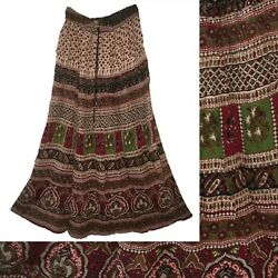 Indian Rayon Crinkle Skirt 8 Size Ladies Long Dress Women Waist Ethnic Boho For $19.99