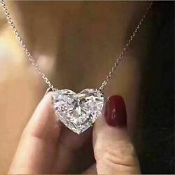 Fashion Heart 925 Silver Necklace Pendant for Women White Sapphire Jewlery Gift $2.08