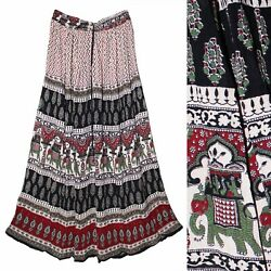Indian Rayon Crinkle Skirt Size Long Dress Waist Ethnic Boho For Women Hippie $19.99
