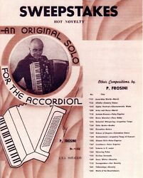 SWEEPSTAKES Hot Novelty for Accordion by PIETRO FROSINI 3 Pages Reprint $10.00