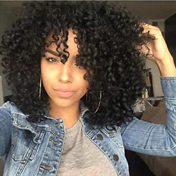 Short Afro Black Kinky Curly Wigs for Black Women Curly Synthetic Hair Wig for $14.45