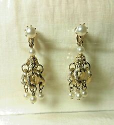 Vintage Pearl Chandelier and Gold Tone Dangle Drop Fashion Earrings Clip On $19.95