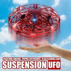 UFO Mini Drone Quad Induction Levitation Hand Operated Helicopter Toy Blue Red $15.92