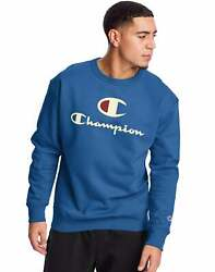 Champion Men#x27;s Fleece Crew Sweatshirt Big C amp; Script Logos Athletics Powerblend $25.38
