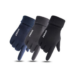 Winter Warm Suede Gloves Men Women Windproof Thermal Lining Touch Screen Mittens $10.99