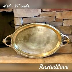 Med Brass Vintage Serving Tray hand etched with handles Mid Century Modern $295.00